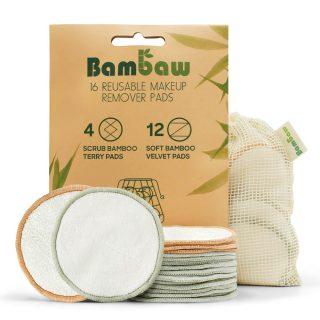 Bambaw, wielorazowe płatki, waciki kosmetyczne bambusowo-bawełniane, zestaw 16 szt. (1)