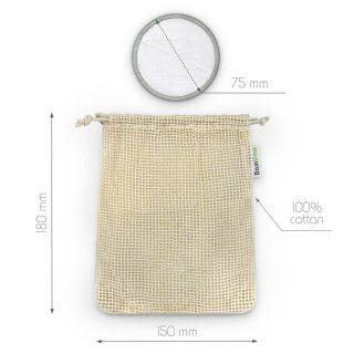 Bambaw, wielorazowe płatki, waciki kosmetyczne bambusowo-bawełniane, zestaw 16 szt. (2)