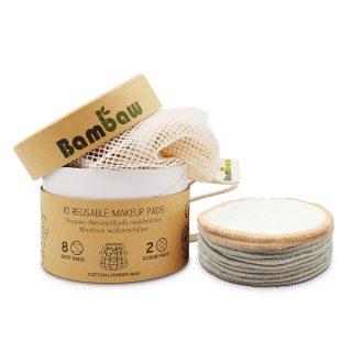 Bambaw, zestaw 10 wacików bambusowych o różnej miękkości, z woreczkiem do prania (1)