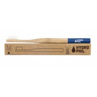 Hydrophil, naturalna, wegańska szczoteczka do zębów z biodegradowalnego bambusa, WŁOSIE MIĘKKIE, NIEBIESKA