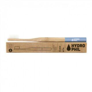 Hydrophil, naturalna, wegańska szczoteczka do zębów z biodegradowalnego bambusa, WŁOSIE ŚREDNIE, NIEBIESKA