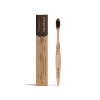 Kompostowalna szczoteczka do zębów, z drzewa bukowego, włosie miękkie, czarna, Georganics (1)