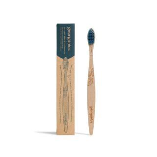 Szczoteczka do zębów ekologiczna, z drzewa bukowego, włosie twarde, niebieska, Georganics (1)
