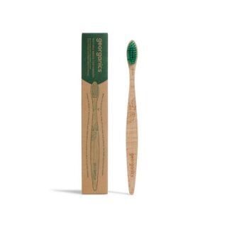 Szczoteczka do zębów z drzewa bukowego, kompostowalna, włosie średnie, zielone, Georganics (1)