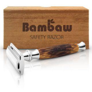 Bambaw, maszynka do golenia z wymiennymi żyletkami, bambusowy uchwyt, stal nierdzewna (1)