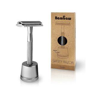 Bambaw, wielorazowa maszynka do golenia, stojak, SREBRNA