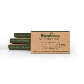 Bambaw, wielorazowe żyletki, dwustronne, stal nierdzewna, 5 sztuk (1)